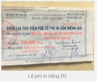 Lệ phí in bằng lái xe b2